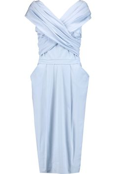 VIONNET Wrap-effect stretch cotton-blend poplin midi dress. #vionnet #cloth #dress