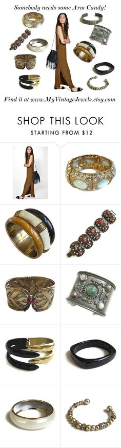 """""""Need some Arm Candy!"""" by myvintagejewels ❤ liked on Polyvore featuring Boohoo and vintage"""