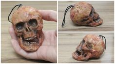 Grotesque skull hanging bauble decoration prop