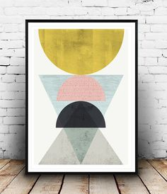 Abstract poster, Geometric art, Minimalist print, Gold abstract, Nordic design, Watercolor print, Geometric print, Modern print, colorful