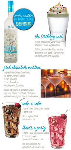Three Olives Cake Vodka : recipes using the official celebration spirit Drei Oliven Kuchen Wodka: Rezepte mit der offiziellen Feier Geist - Brenda Wedding Party Drinks, Cocktail Drinks, Fun Drinks, Yummy Drinks, Cocktail Recipes, Yummy Food, Birthday Drinks, Birthday Cake Vodka, Birthday Cake Shots