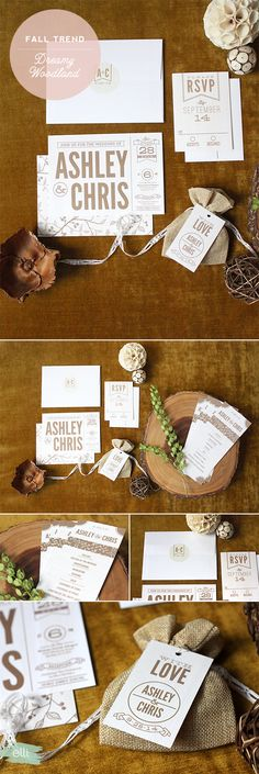 Modern Rustic wedding invitation suite