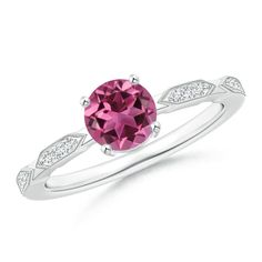 Classic Round Pink Tourmaline Solitaire Ring with Quad Diamond Accents