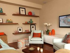 3 Surprising Tips: Floating Shelves Plants Interior Design floating shelf hardware ceilings.Floating Shelves Over Tv Living Rooms rustic floating shelves bar.Floating Shelves Above Couch Cabinets. Small Apartment Decorating, Apartment Furniture, Living Room Orange, Living Room Designs, Apartment Living Room, Living Room Decor, Floating Shelves Living Room, Room Design, Apartment Decor