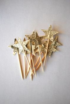 Star Cupcake Picks, made from vintage paper by marcy