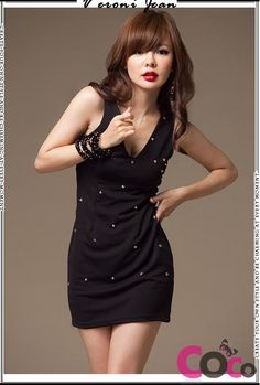 http://www.coco-fashion.com/Black-Sleeveless-V-Neck-Punk-Style-Dress-with-Sexy-Cross-at-The-Back-and-Rivets-p18210.html