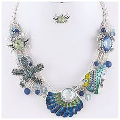 """ED16 Aquatic Turtle Crab Statement Necklace ‼️PRICE FIRM‼️    Aquatic Necklace  Retail $89  Really fun and stylish necklace. Sure to dress up any outfit.  Blue & green beading & crystals.  Necklace is approximately 20"""" long, including the 3"""" of extender chain. Free matching crab earrings.  Earrings hang down approximately .75"""". Please check my closet for many more items including designer clothing, scarves, shoes, handbags & much more! Boutique Jewelry Necklaces"""