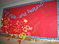 Gorgeous Classroom Bulletin Board Ideas - The Classroom Key Rocket Bulletin Boards, Teacher Bulletin Boards, Preschool Bulletin Boards, Classroom Displays, Classroom Organization, Classroom Ideas, Classroom Door, Organizing, Learning Goals Display
