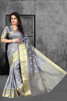Buy Gray Tussar Silk Saree With Blouse 67593 with blouse online at lowest price from vast collection of sarees at Indianclothstore.com.