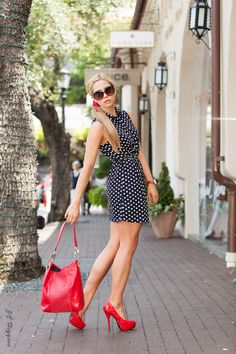 Love the polka dot dress with a pop of RED!