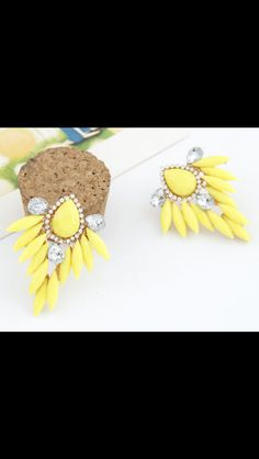 Earrings: gold, yellow and clear crystal drop stud earrings. Pretty, unique and just what you need to have in your spring collection. Message me for details. #springfever. #noorsjewels