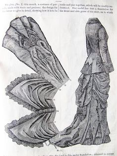 Pintucks: How A Victorian Bustle was Draped: Fashion Plates Victorian Pattern, Victorian Gown, Victorian Costume, Victorian Dolls, Victorian Fashion, Vintage Fashion, Victorian Party, Victorian Gothic, Gothic Lolita