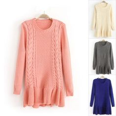 Modelo de la torcedura de la alta calidad de Falbala Hem Slim Fit Suéteres de lana suéter para mujer 4H6PUTHNKKFH8KEN2JHAC
