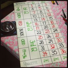 DiY roulette board; for those gamblers out there & i know a few to say the least ;) #roulette #gambling #casino #diy