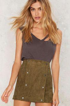 It's a Snap Vegan Suede Skirt - Clothes | Summer Romantics | Flared