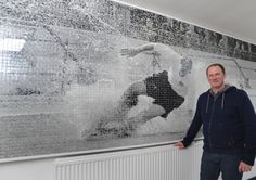 PNE manager Simon Grayson unveiling the Sir Tom Finney mosaic in the  Sir Tom Finney Stand reception at Deepdale