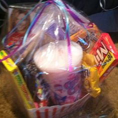 This includes movie tickets, a gas card, Cotten candy, two o… Birthday Party Tables, Cars Birthday Parties, Movie Night Gift Basket, Movie Basket, Milk Duds, Movie Gift, Sour Patch Kids, Christmas Hearts, Car Accessories For Girls