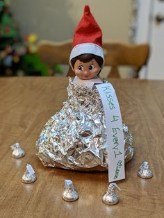 Elf on the Shelf dressed as Hershey kiss, kisses for everyone - The Adventures of Luna 2018 The Effe Awesome Elf On The Shelf Ideas, Elf On The Shelf Ideas For Toddlers, Holiday Crafts, Holiday Fun, Kindness Elves, Elf Magic, Elf On The Self, Buddy The Elf, Christmas Elf