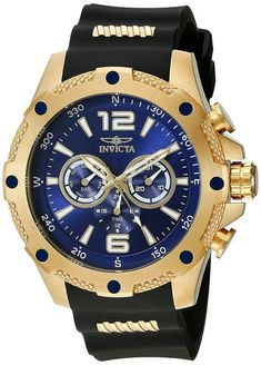 online shopping for Invicta Men's 19659 I-Force Gold Ion-Plated Watch Black Polyurethane Band from top store. See new offer for Invicta Men's 19659 I-Force Gold Ion-Plated Watch Black Polyurethane Band Casual Watches, Cool Watches, Watches For Men, Wrist Watches, Sporty Watch, Casio Watch, Stainless Steel Case, Luxury Watches, Quartz Watch