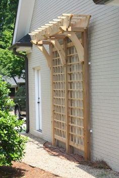 Beautiful trellis -love the pergola-esque top. A trellis against the side of the house or shed - creative way to add interest to a plain wall. Outdoor Projects, Garden Projects, Outdoor Ideas, Wood Projects, Lawn And Garden, Home And Garden, Garden Shop, Gazebos, Arbors