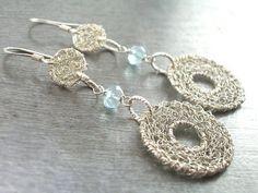 Aquamarine Earrings, Sterling Silver Wire Crochet Earrings