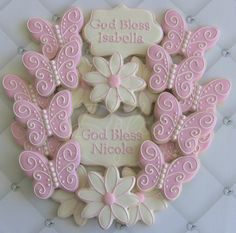 One Dozen (12) Butterfly Themed Decorated Sugar Cookies For Baptism Communion Confirmation on Etsy, $40.00