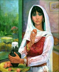 Art   painting by Ismail Shammout  a Palestinian artist — with Samira Jaridly.