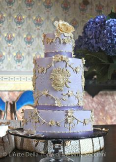 Romantic Appliqued Purple Wedding Cake