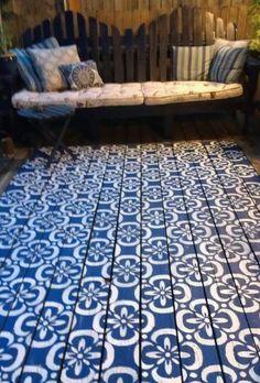 "Selena Urquhart on "" Day stenciled a painted rug on the deck Painted Wood Floors, Painted Rug, Painted Furniture, Patio Azul, Porch Flooring, Patio Rugs, Deck Rug, Stenciled Floor, Painting Concrete"