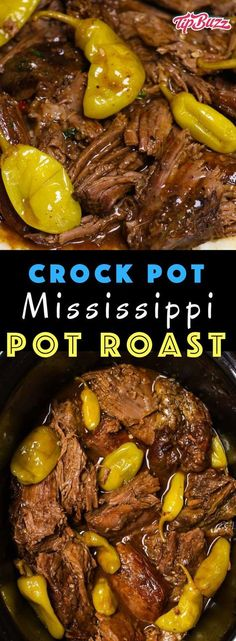 Mississippi Pot Roast is one of the most delicious crock pot dinners you'll ever make! Flavorful comfort food that's super juicy and fork-tender. Only 5 minutes of preparation to make this epic meal in the slow cooker! (Jo uses 4 pounds) Crock Pot Recipes, Pot Roast Recipes, Crock Pot Cooking, Healthy Crockpot Recipes, Slow Cooker Recipes, Beef Recipes, Cooking Recipes, Dinner Recipes, Healthy Pot Roast