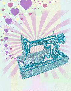 Teal Vintage Singer Sewing Machine - Retro Graphic Illustration - Giclee Art Print