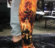 Burning tattoo by Ben Kaye