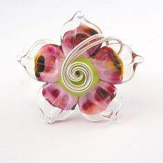 speckle pink lampwork ring by Angelfire Art Glass