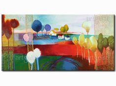Paysage campagnard et tranquille sur tableau inspiré des collages colorés #tableau #tableaux #tableaupeints #paysage #arbres #collage #pysage coloré