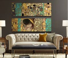2 Panel Unframed The Kiss and The Tree of Life Artists Gustav Klimt Wall Canvas