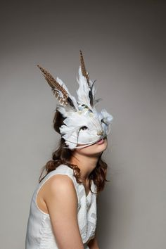 Luxury Embellished Mother Of Pearl White Rabbit Mask Unisex Coloured Feathers, White Feathers, Pheasant Feathers, Oasis Fashion, Carnival Masks, Masks Art, Masquerade Ball, Masquerade Costumes, Mother Of Pearl Buttons