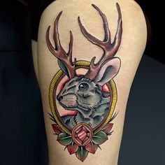 Awesome jackalope neo-traditional tattoo done by tattoo artist Dejan Furlan at Adrenaline Vancity.