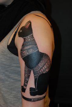 art noveau black cat