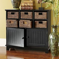 Pier Holtom Cabinet offers a handsome way to get organized with removable rattan baskets and plenty of room underneath. Home Decor Furniture, Living Room Furniture, Home Furnishings, Furniture Ideas, Black Cabinets, Wooden Cabinets, Living Room Cabinets, Home Organization, Organizing