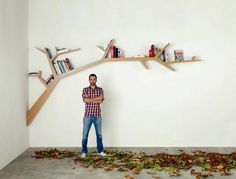 Creative bookself made like branch