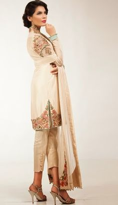 Fahad Hussayn Eid Luxury Pret-2014 Indian Dresses, Indian Outfits, Indian Clothes, Muslim Fashion, Indian Fashion, Hand Embroidery Dress, Machine Embroidery, Indian Designer Suits, Traditional Fashion
