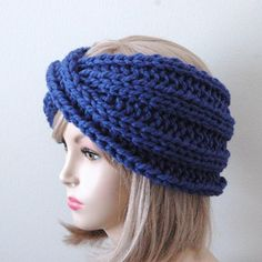Knit Headband Ear Warmer Chunky in Stunning Cobalt Blue