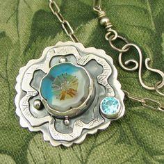 "Czech Glass bezel set Bead ""Water Flower"" Sterling Pendant with Blue CZ stone - OOAK by marybird on Etsy"