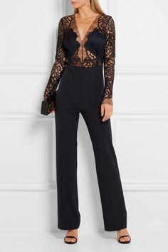 Michelle Mason | Combi-pantalon en dentelle et crêpe stretch | NET-A-PORTER.COM