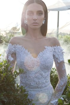 persy haute #couture #bridal spring 2015 off the shoulder long sleeve #wedding dress sweetheart neckline #longsleevesweddingdress #weddingdress #weddings