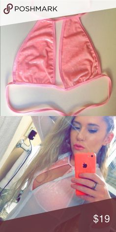 5996613b43abf baby pink halter pink velvet halter from oceanmoon. only worn a couple of  times