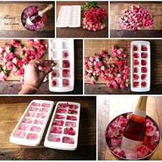 These rose petal ice cubes are the perfect way to add a bit of a pink / floral theme to your hen party, hen do, bridal shower, bachelorette or wedding. Romantic Surprise, Birthday Brunch, Birthday Breakfast, Easter Brunch, Romantic Dinners, Romantic Ideas, Romantic Night, Romantic Dinner Recipes, Romantic Gifts