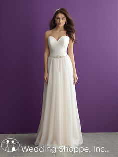In an A-line sheath silhouette, the Allure Romance 2962 wedding dress offers modern elegance with vintage-inspired charm.