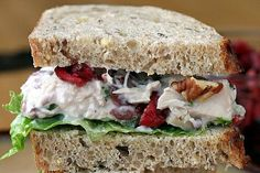 CHICKEN SALAD  4 C.chopped, cooked chicken or turkey breast  1/2 C. dried cranberries  1/2 C. chopped toasted pecans  1/2 C.diced celery  1/2 C. low-fat Greek yogurt  1/4 C. light mayonnaise  1 Tbsp honey  1/2 tsp kosher salt  1/4 tsp ground black pepper  1-1/2 Tbsp chopped fresh tarragon   leaves (or 1-1/2 tsp dried)  Stir all ingredients until well combined. TIP: Will hold a day or two in fridge.Add more yogurt for creamy consistency if eaten the next day. From Debbie Reynolds Oh So Shabby
