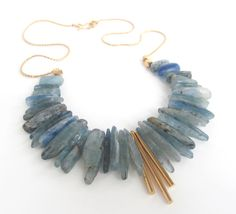 KYANITE STATEMENT NECKLACE 22 inch Kyanite by GlitteratiJewelry, $125.00
